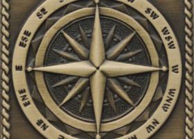 Вставка декоративная Windrose Satined brass (бронза сатинированная) 50х50