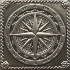 Вставка декоративная Windrose Satined black silver (серебро окисленное) 50x50